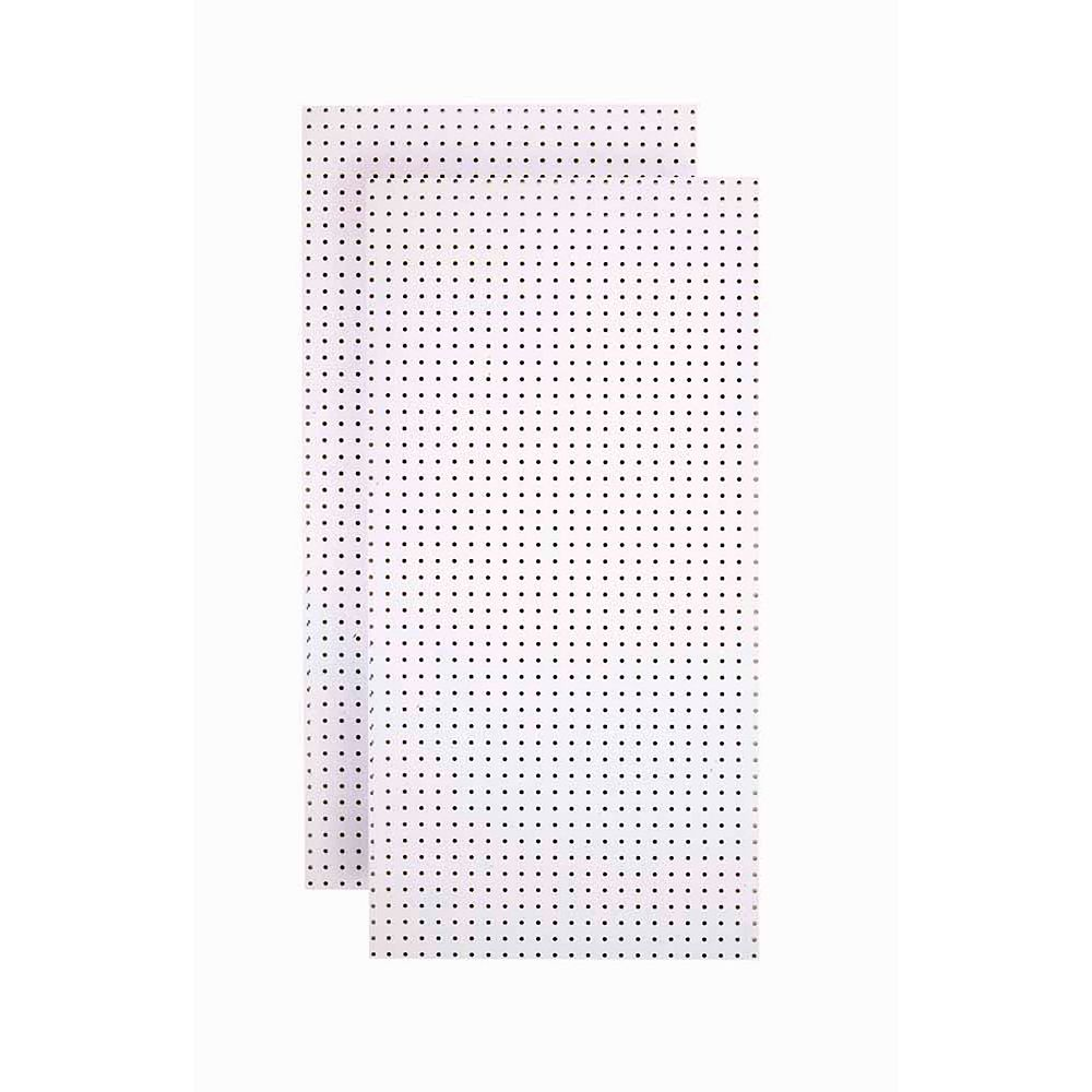 Triton (2) 24 In. W x 48 In. H x 1/4 In. D  White Tempered Round Hole Pegboards