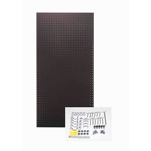 24 In. W x 48 In. H x 1/4 In. D Black  Tempered Pegboards with 36 pc.  Hook Assortment