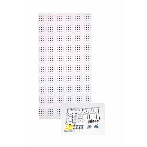 24 In. W x 48 In. H x 1/4 In. D White  Tempered Pegboards with 36 pc. Hook Assortment