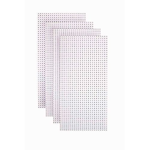 Triton (4) 24 In. W x 48 In. H x 1/4 In. D White Tempered Round Hole Pegboards