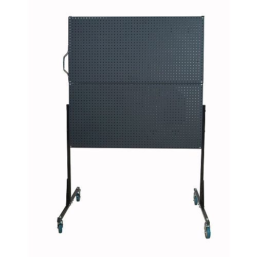 50 In. W Mobile Stand-Alone Pegboard Unit with 4 Black Polyethylene Matte Finish DuraBoard Pegboards