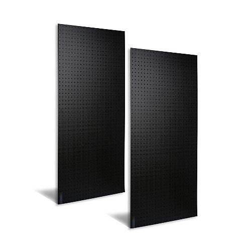 (2) 24 In. W x 48 In. H x 3/16 In. D Matte Black Polyethylene Pegboards