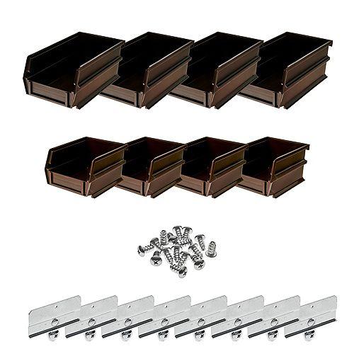 4-1/8 in. W x 3 in. H Brown Wall Storage Bin Organizer (8-Piece)