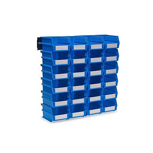 Triton LocBin Small Wall Storage Bin (24-Piece) with 2-Wall Mount Rails in Blue