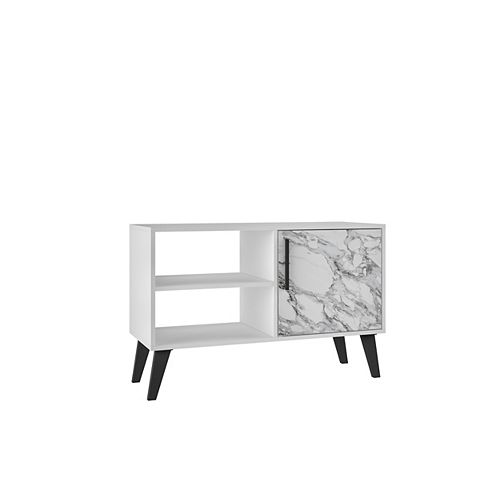 "Amsterdam 35.43"" TV Stand with 3 Shelves in White Marble"