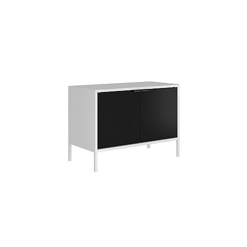 """Smart Low 27.55"""" Wide TV Stand Cabinet in White and Black"""