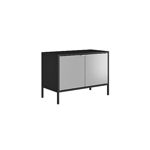 """Smart Low 27.55"""" Wide TV Stand Cabinet in Black and Grey"""