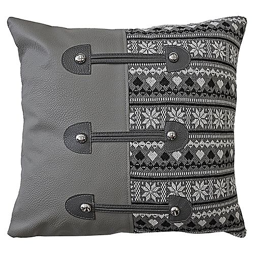 """Home Depot CHATEL CUSHION 16x16"""" GREY COLOR, KNIT WITH FAUX LEATHER, TOGGLES, AND REMOVABLE COVER"""