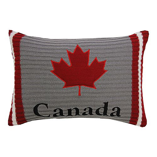 """Home Depot OH CANADA CUSHION 14x20"""" MULTICOLOR, SOCK KNIT WITH MAPLE LEAF APPLIQUÉ AND REMOVABLE COVER"""