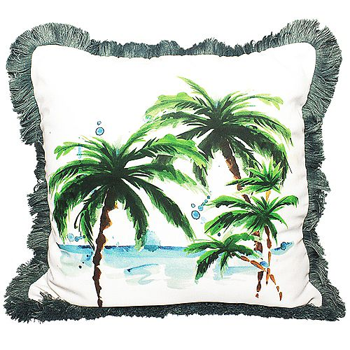 """PATIO COCONUT OUTDOOR CUSHION 18x18"""" MULTICOLOR, DOUBLE SIDED, WITH FRINGE AND REMOVABLE COVER"""