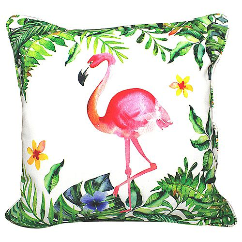 """PATIO FLAMINGO OUTDOOR CUSHION 18x18"""" MULTICOLOR, DOUBLE SIDED, WITH PIPING AND REMOVABLE COVER"""