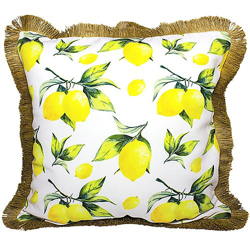 """PATIO LEMON OUTDOOR CUSHION 18x18"""" MULTICOLOR, DOUBLE SIDED, WITH FRINGE AND REMOVABLE COVER"""