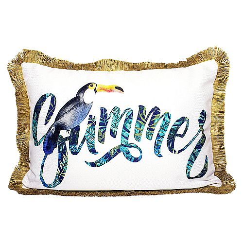 """PATIO SUMMER OUTDOOR CUSHION 14x20"""" MULTICOLOR, DOUBLE SIDED, WITH FRINGE AND REMOVABLE COVER"""