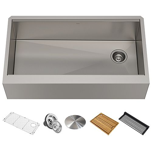 Kraus 36 inch 16-Gauge Undermount Single Bowl Stainless Steel Farmhouse Sink with Accessories