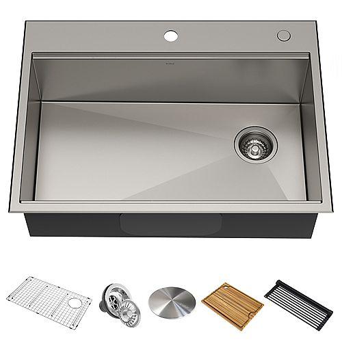 Kraus 30 inch 16-Gauge Drop In Undermount Single Bowl Stainless Steel Sink with Accessories