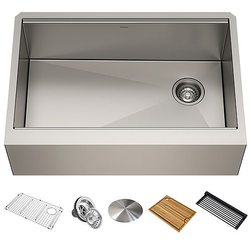 Kraus 30 inch Undermount Single Bowl Stainless Steel Farmhouse Sink with Accessories