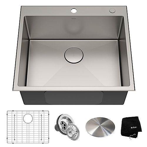 Kraus Standart PRO Drop-in Stainless Steel 25 inch 2-Hole Single Bowl Kitchen Sink
