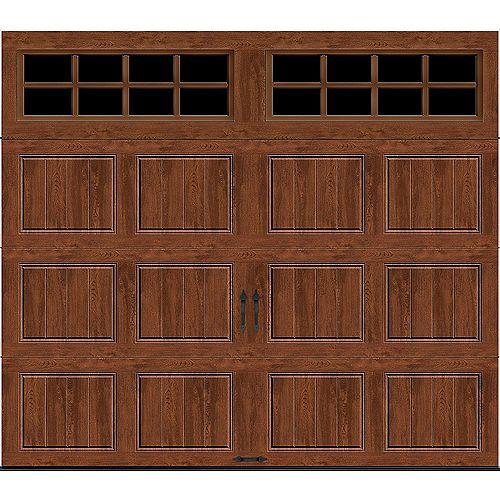 Porte de garage Gallery 8pi x 7pi isolée Intellicore Valeur «R» 18.4 Fini foncée avec fenêtre SQ24