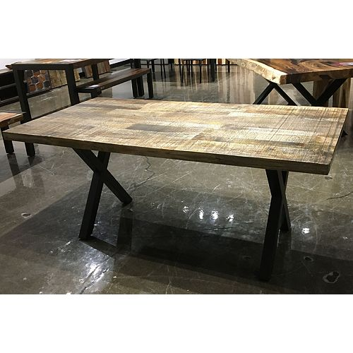 70'' RUSTIC MANGO WOOD TABLE WITH BLACK X LEGS