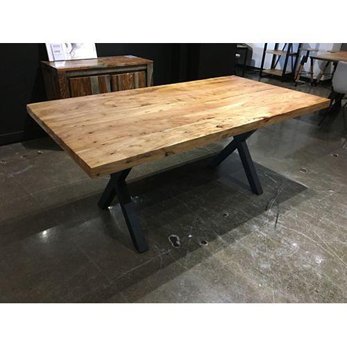 Table 70'' en acacia avec base X noir