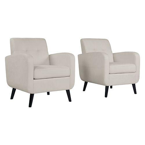 Keavy Mid-Century Modern Arm Chair in Off-White Alabaster Herringbone - Set of 2