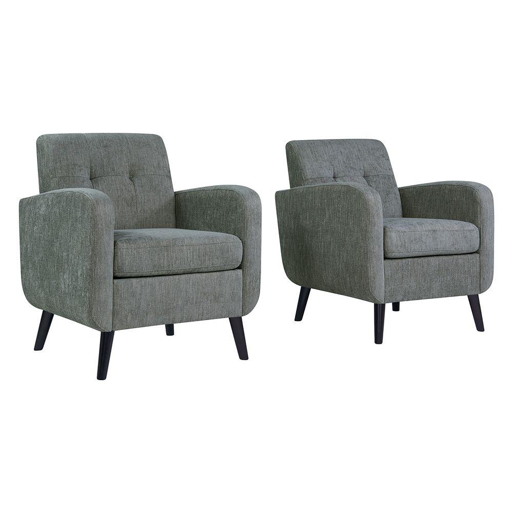Handy Living Keavy Mid-Century Modern Arm Chair in Smoke Gray Herringbone - Set of 2