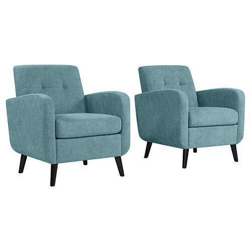 Keavy Mid-Century Modern Arm Chair in Turquoise Blue Herringbone - Set of 2