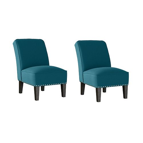 Reames Fabric Slipper Chair in Peacock Blue Linen - Set of 2