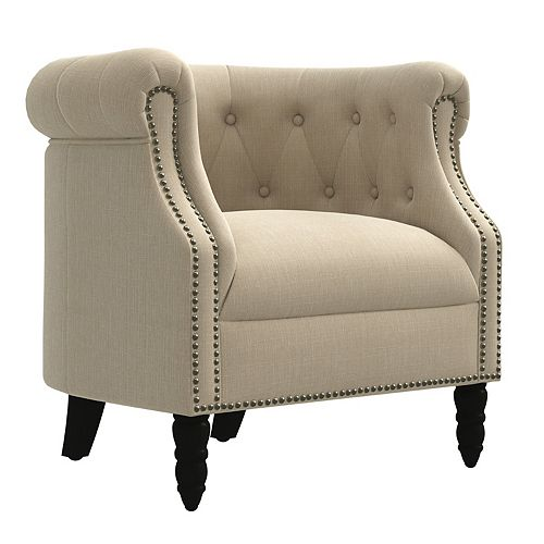 Annalise Chesterfield Chair in Creamy Tan Oatmeal Linen