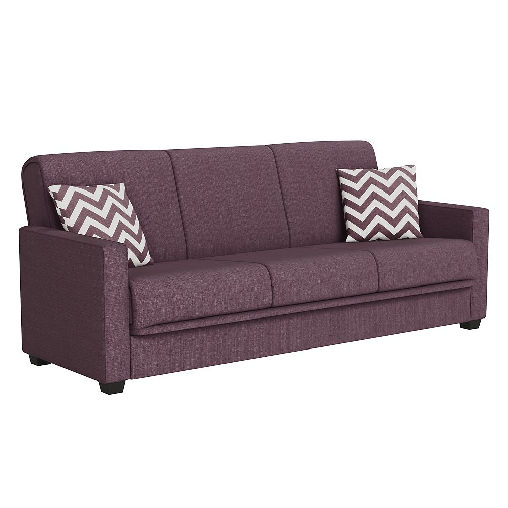 Tribbiani Convert-a-Couch in Amethyst Purple Linen