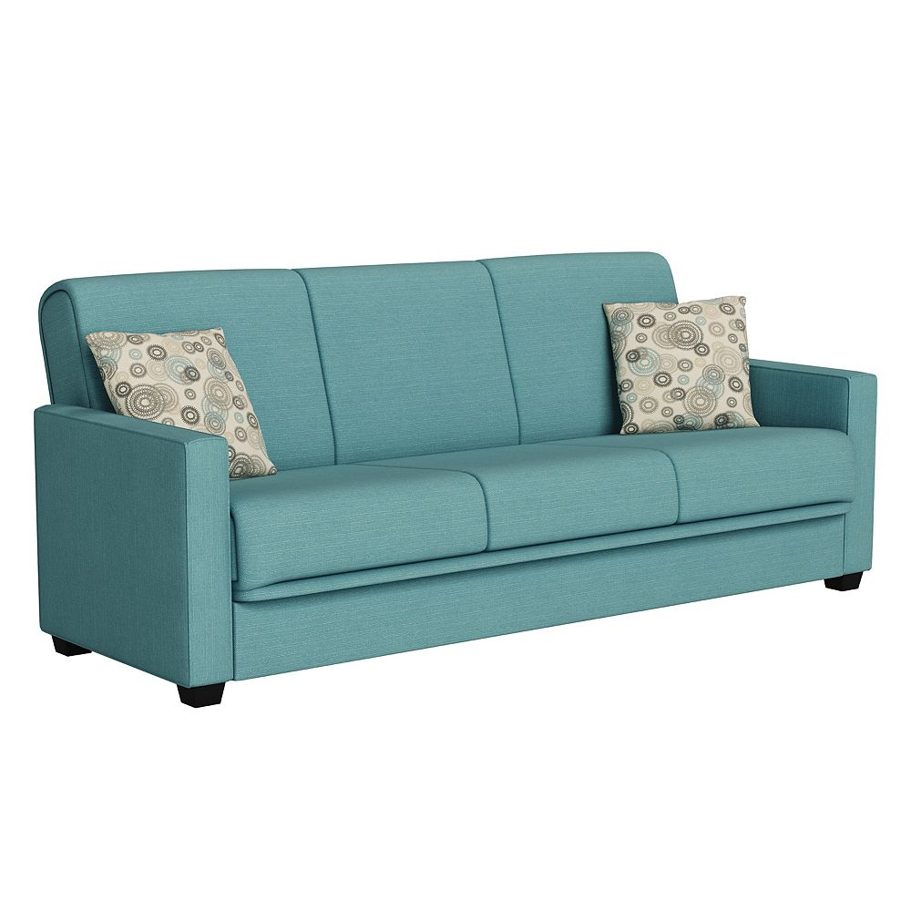 Handy Living Tribbiani Upholstered Linen Convert-a-Couch in Turquoise Blue