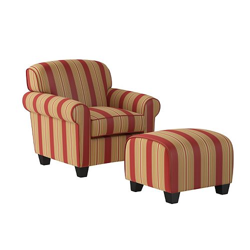 Kudrow Arm Chair and Ottoman in Crimson Red Stripe