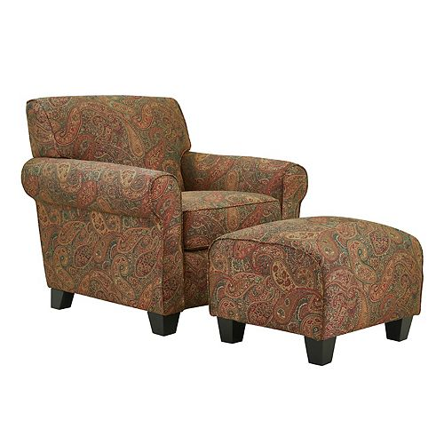 Kudrow Arm Chair and Ottoman in Paisley with a Burgundy Background