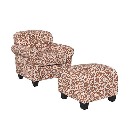 Kudrow Arm Chair and Ottoman in Orange Medallion