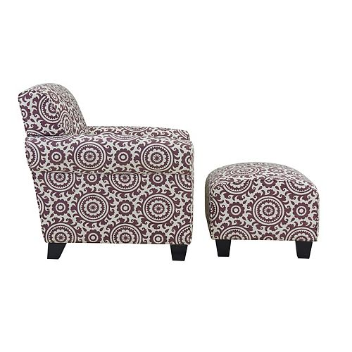 Kudrow Arm Chair and Ottoman in Amethyst Purple Medallion