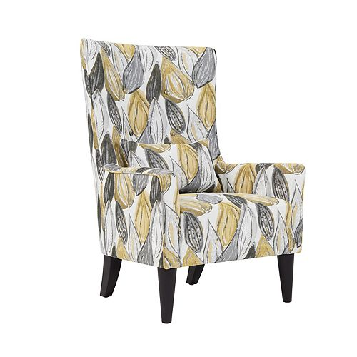 Angelina Shelter High Back Wing Chair in Yellow Leaf