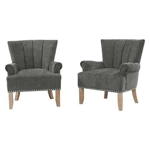 Emroski Rolled Arm Chair in Charcoal Gray Textured Chenille (Set of 2)