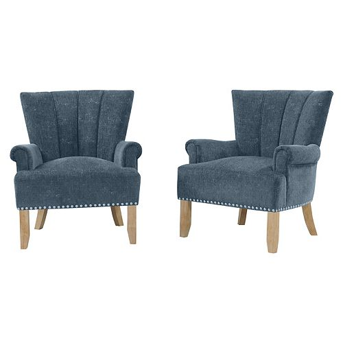 Emroski Rolled Arm Chair in Navy Blue Textured Chenille (Set of 2)