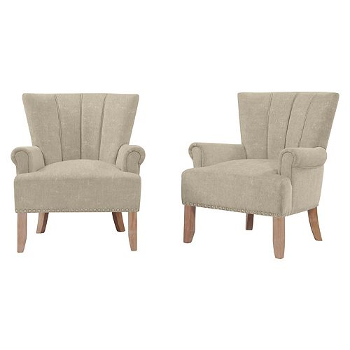 Emroski Rolled Arm Chair in Barley Tan Textured Chenille (Set of 2)
