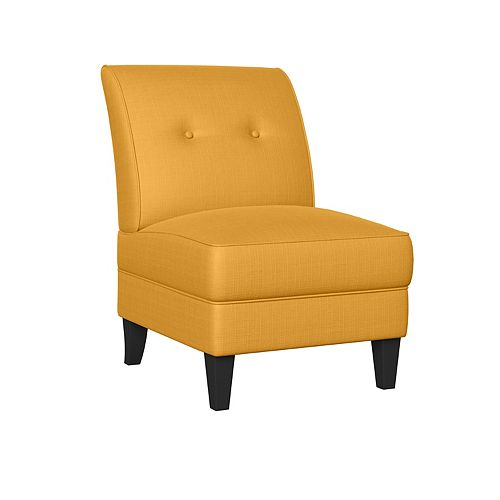 Shumer Armless Chair in Mustard Yellow Linen