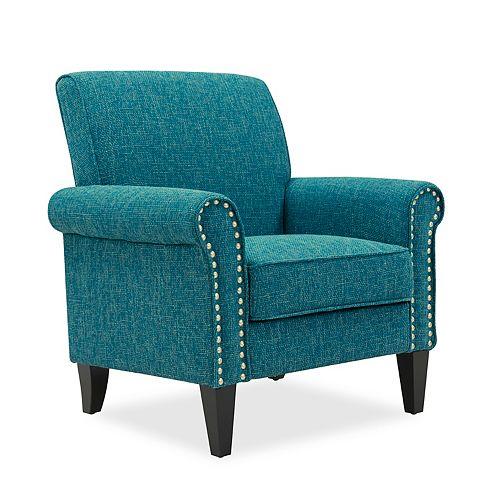 Tapley Arm Chair in Peacock Blue & Sea Green Tweed