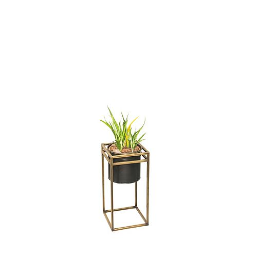 9.8-inch W x 27.2-inch H Round Planter with Iron Frame Square Stand