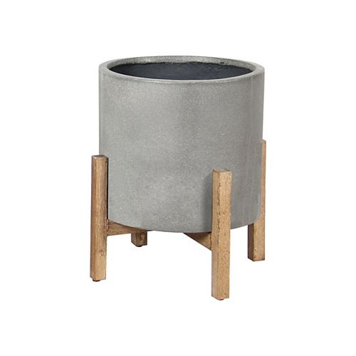 Ficonstone 14.37-inch W x 17.91-inch H Cement-Style Pot with Wooden Legs
