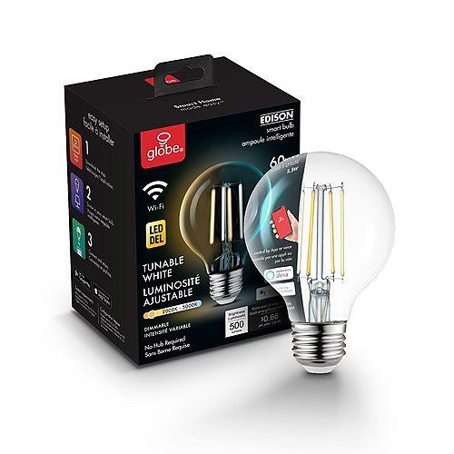 Wi-Fi Smart 60W Equivalent Vintage Edison Filament LED Bulb, G25, E26 Base
