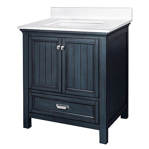 Brantley Blue Habor 30 in. Vanity Combo with Pearl White Top w/Rectangular UM sink - 4 inch Centre