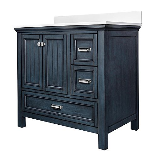 Foremost International Brantley Blue Habor 36 in. Vanity Combo with Pearl White Top w/Rectangular UM sink - 4 inch Centre