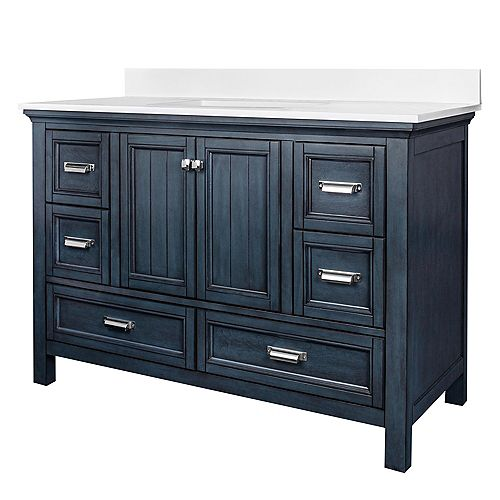 Brantley Blue Habor 48 in. Vanity Combo with Pearl White Top w/Rectangular UM sink - 8 inch Centre
