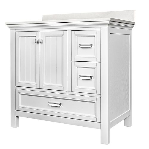 Foremost International Brantley White 36 inch Vanity Combo with Lily White Top with Rectangular UM sink -4 inch centre