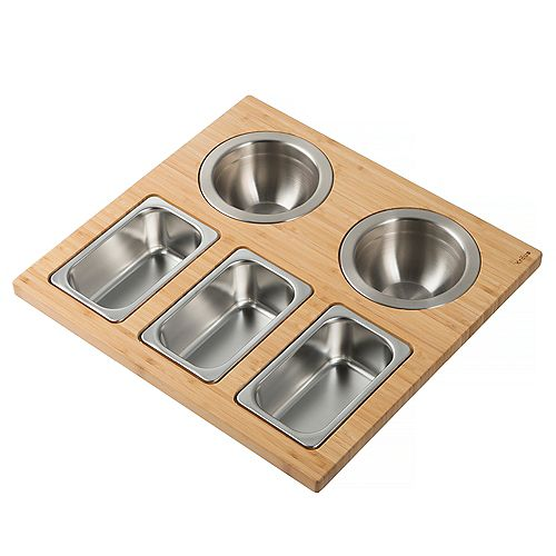 Kraus Workstation Kitchen Sink Serving Board Set with Stainless Steel Bowls