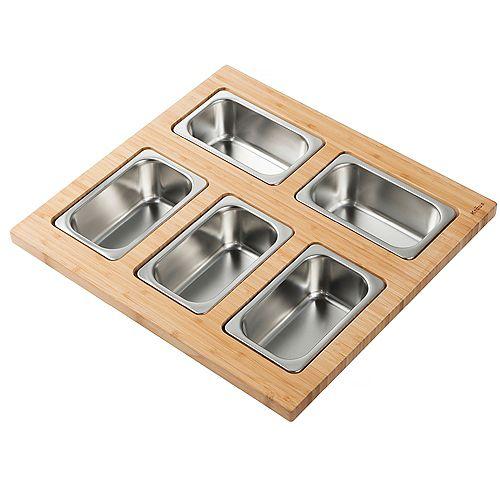 Workstation Kitchen Sink Serving Board with 5 Rectangular Stainless Steel Bowls